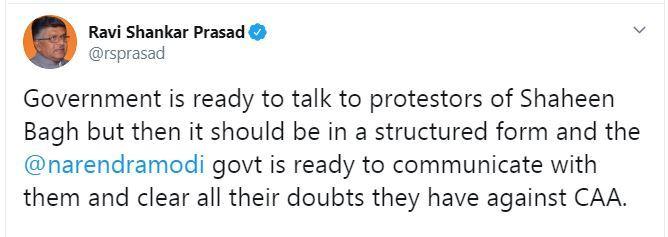 ravi shankar prasad's tweet