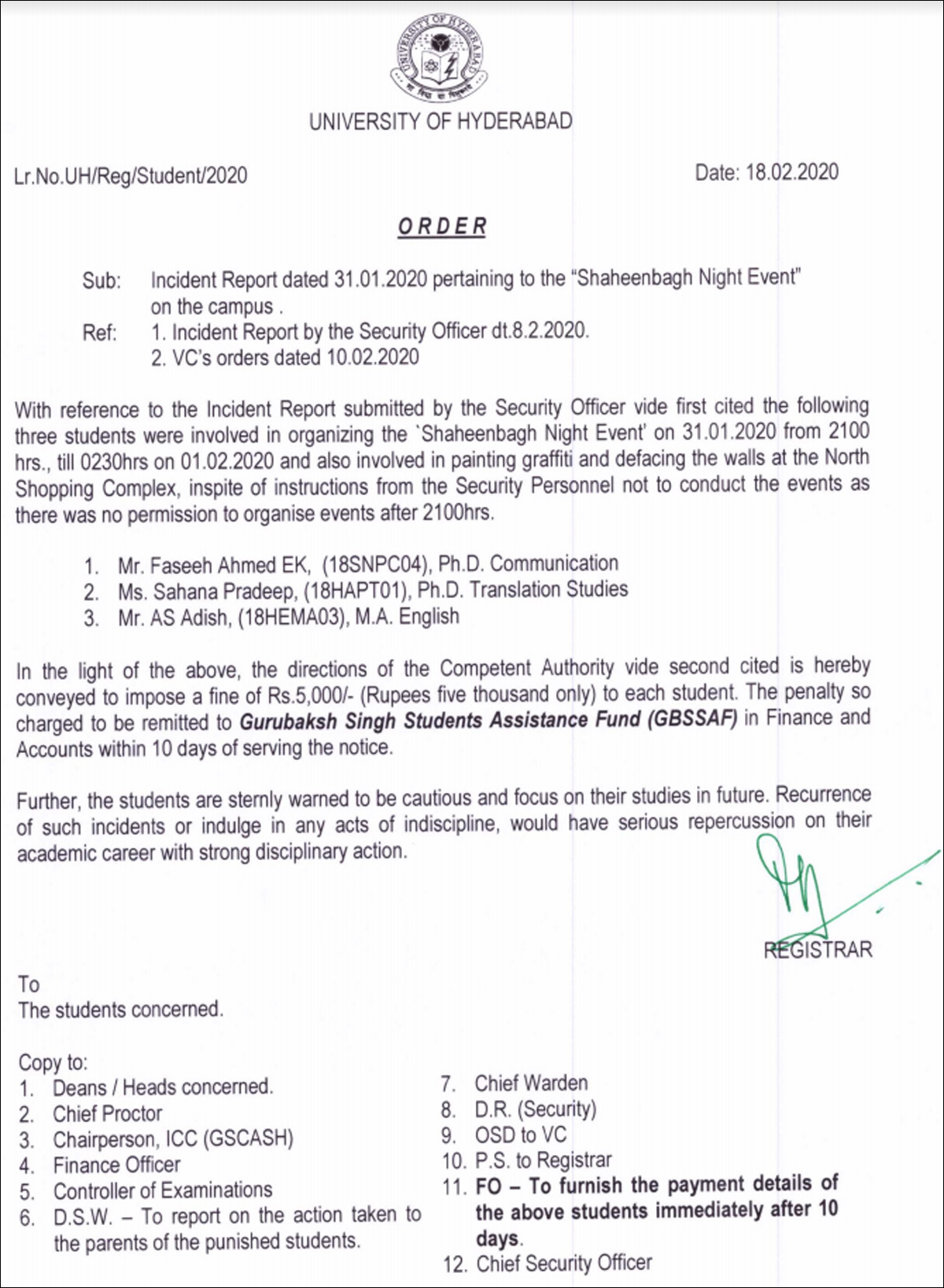 University of Hyderabad Notice on Shaheen Bagh