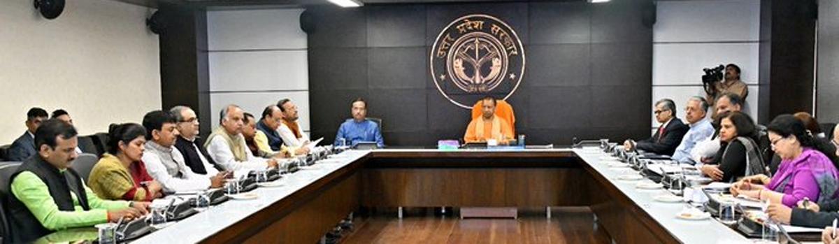 Uttar Pradesh Chief Minister Yogi Adityanath chaired a meeting over #CoronavirusPandemic at Lok Bhawan today.