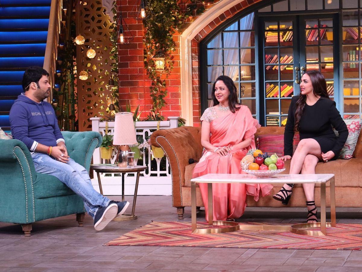 Hema Malini and Esha Deol attend The Kapil Sharma Show.