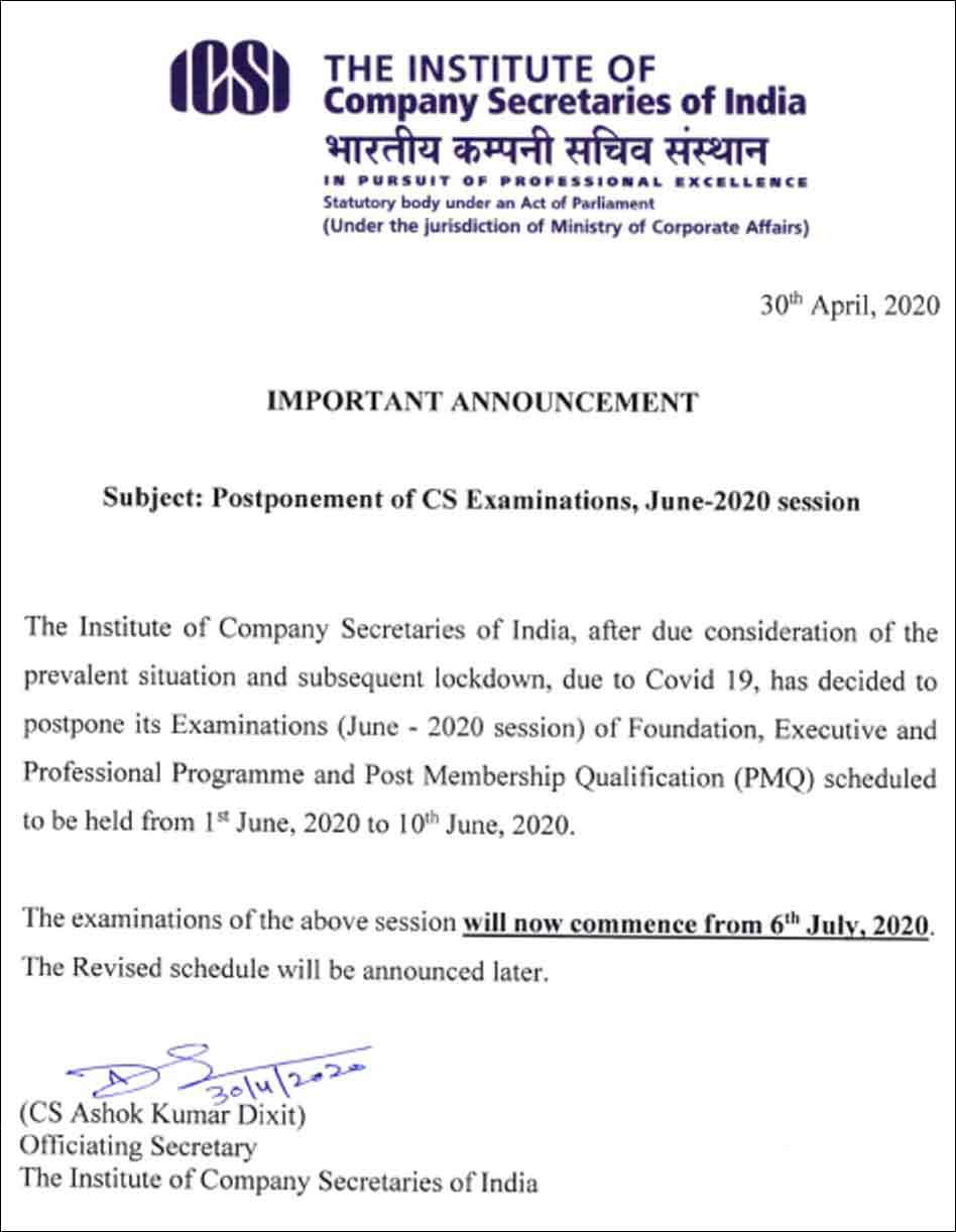 CS Exam Postponed: ICSI CS June exams at all levels slated from