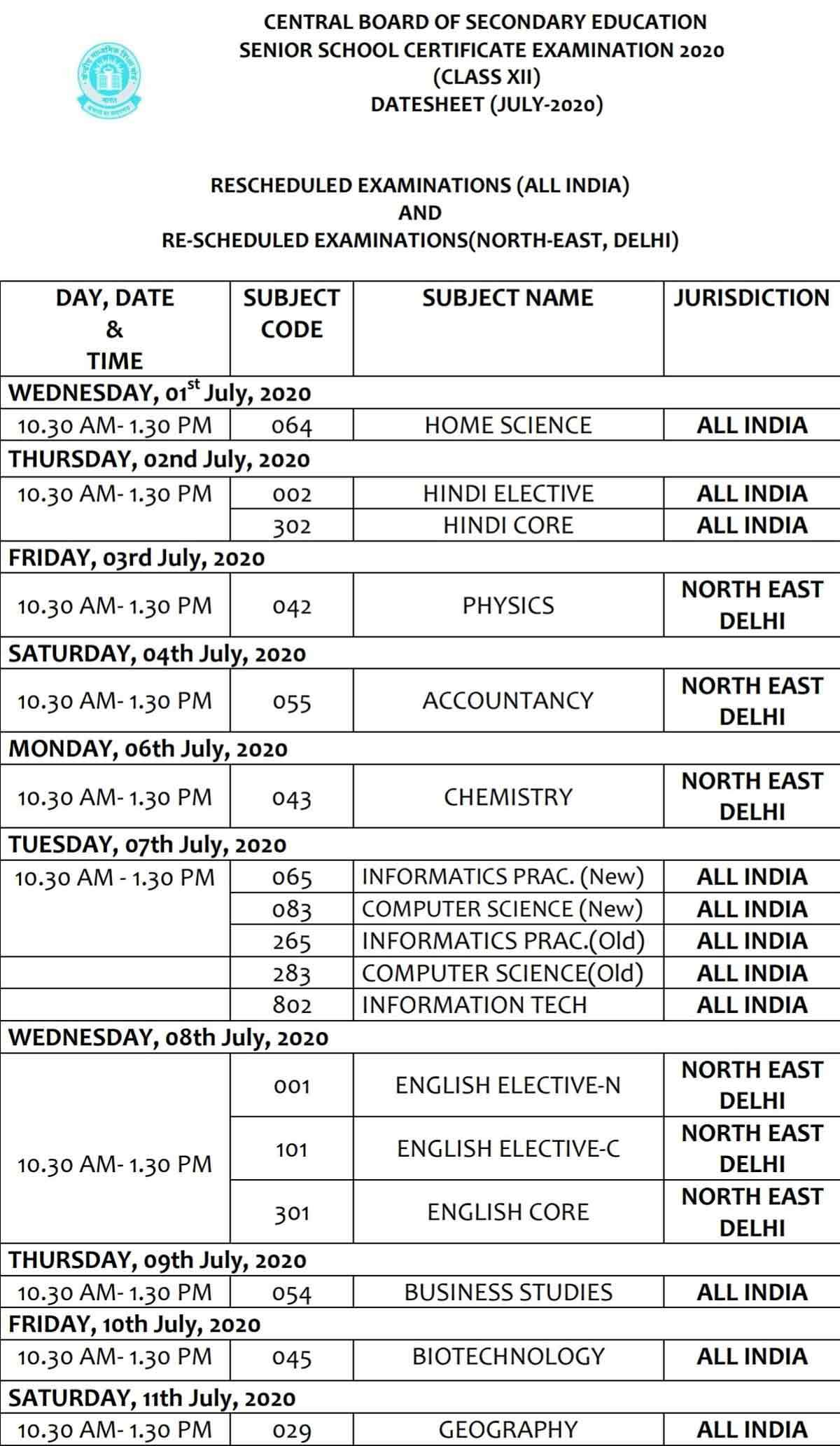 CBSE Date sheet for remaining 10th & 12th papers
