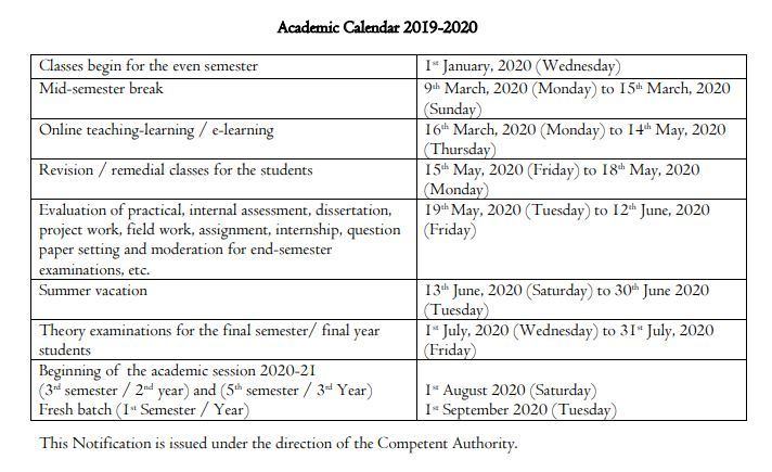 DU academic calendar 2020: Summer vacation from June 13 to 30
