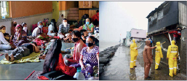 Residents of Ganesh Nagar taking shelter at Fr. Agnel School (left); police evacuating people from Gita Nagar in Colaba