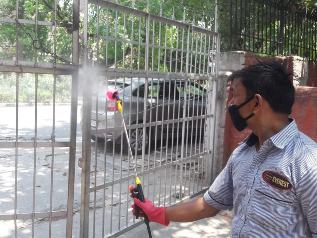 College gates are being disinfected on regular basis (credits/SRCC)