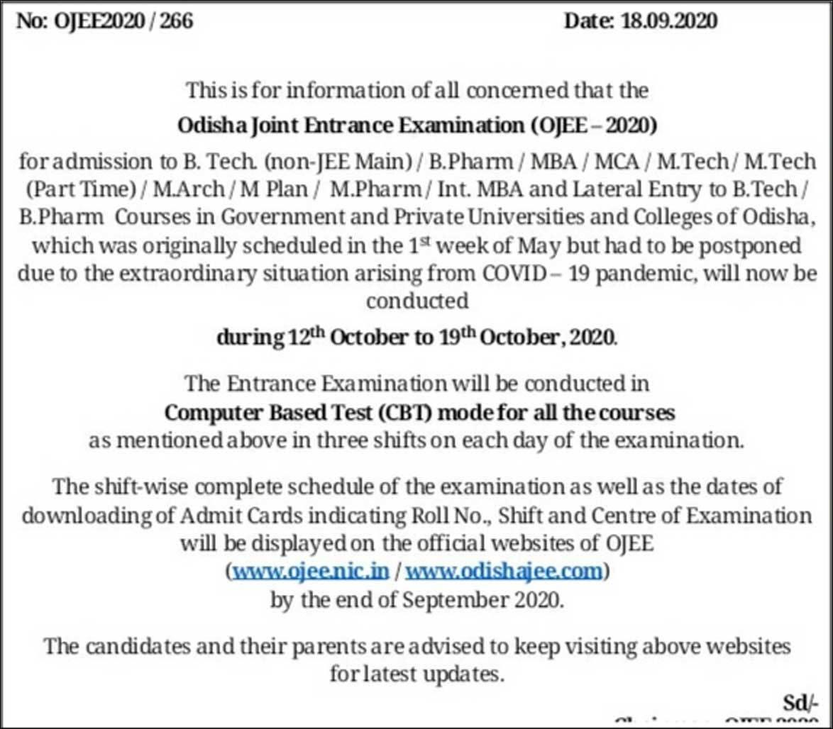 Odisha OJEE 2020 exam date