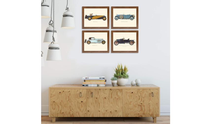 Framed images of vintage cars