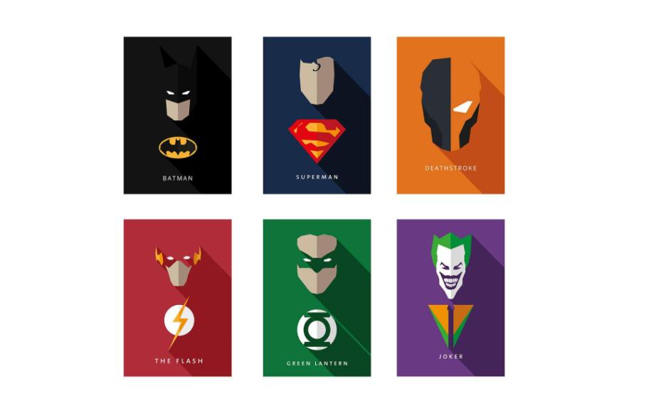 Minimal DC superhero posters