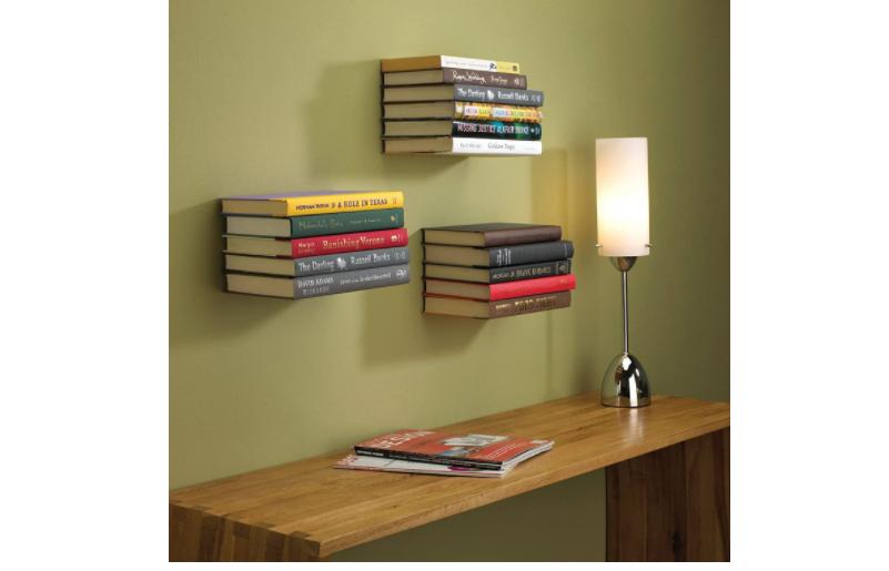 Floating bookshelves for a mini library