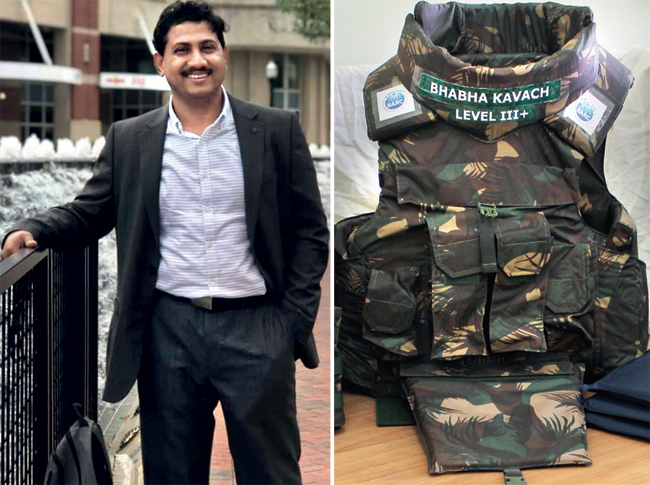 The Bhabha Kavach (right), a lightweight bulletproof vest, is just one application of Kinshuk Dasgupta's work