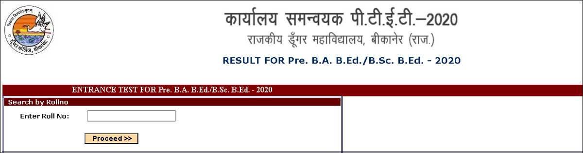 Rajasthan PTET 2020 result