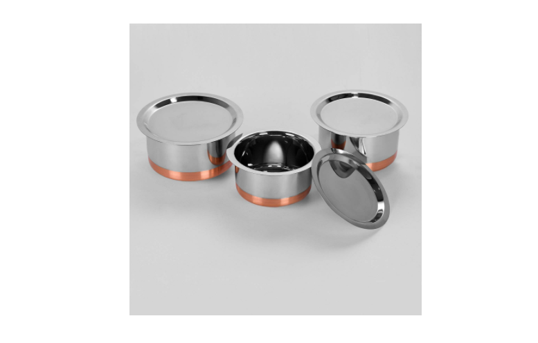 Sumeet Stainless Steel Copper Bottom Cookware/ Container / Tope Set Of 3 Pcs With Lid