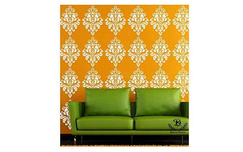 A stenciled bedroom wall
