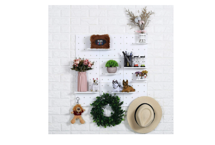 A pegboard for displaying accessories