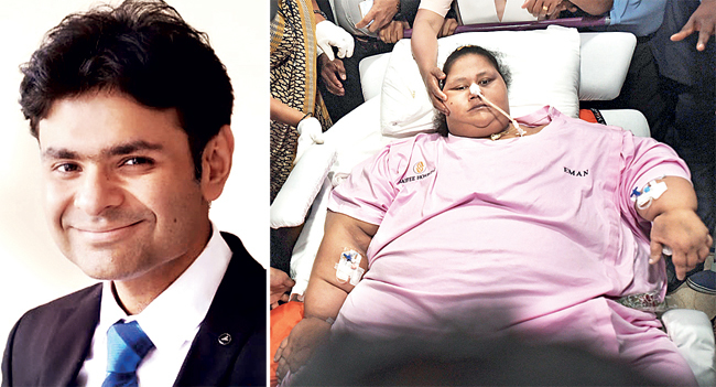 (L) Dr. Mohit Bhandari;  Eman Ahmed, Egyptian national and the world's heaviest woman, underwent weight loss surgery in Mumbai in April 2017. She passed away in Abu Dhabi that September.