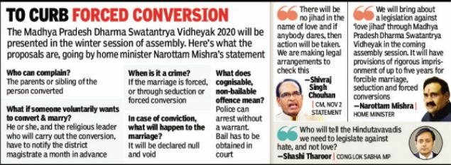 Madhya Pradesh readies law against 'love jihad'; five-year jail | Bhopal  News - Times of India