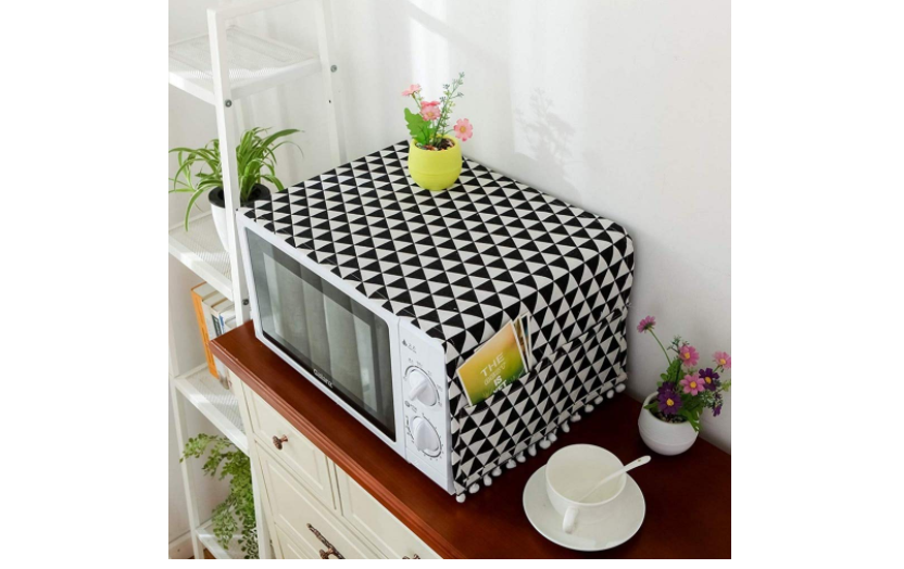 Geometric printed cover for microwave oven