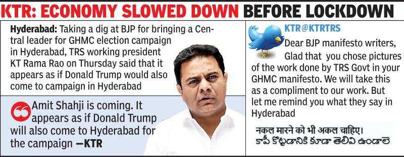 Want political tourists or TRS, KT Rama Rao asks voters   Hyderabad News -  Times of India