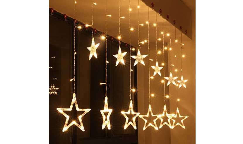 Curtain string lights with stars