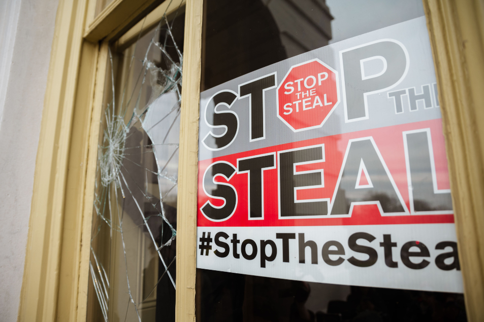 A Stop The Steal is posted inside of the Capitol Building AFP 635