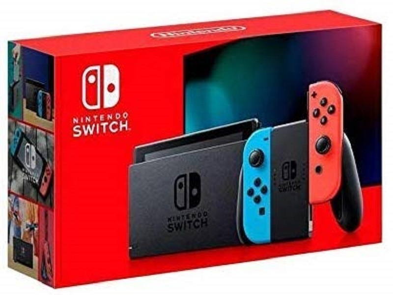 Nintendo Switch with neon red and neon blue Joy‑Con - Version 2