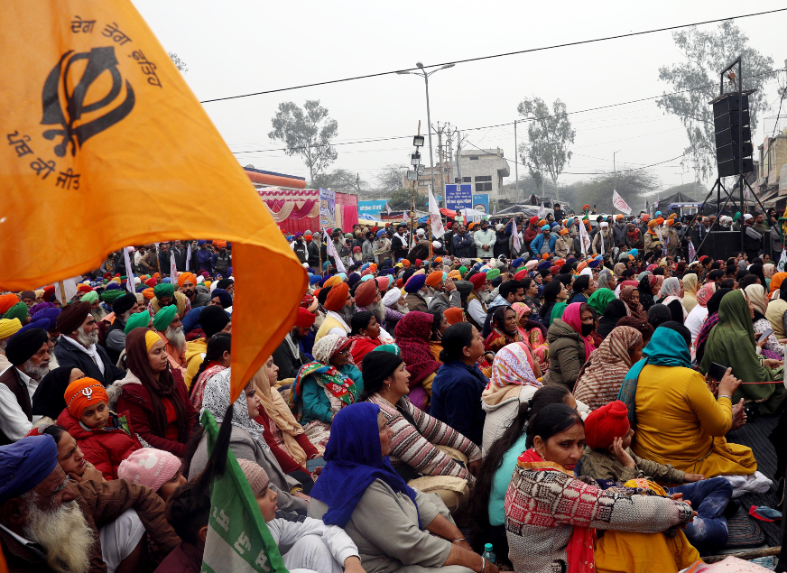 Farmers sitting during an ongoing protest ANI 635