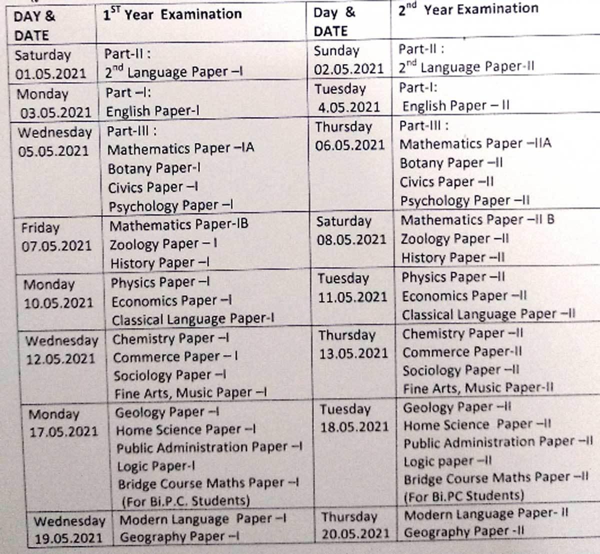 Telangana inter exams to be held from May 1