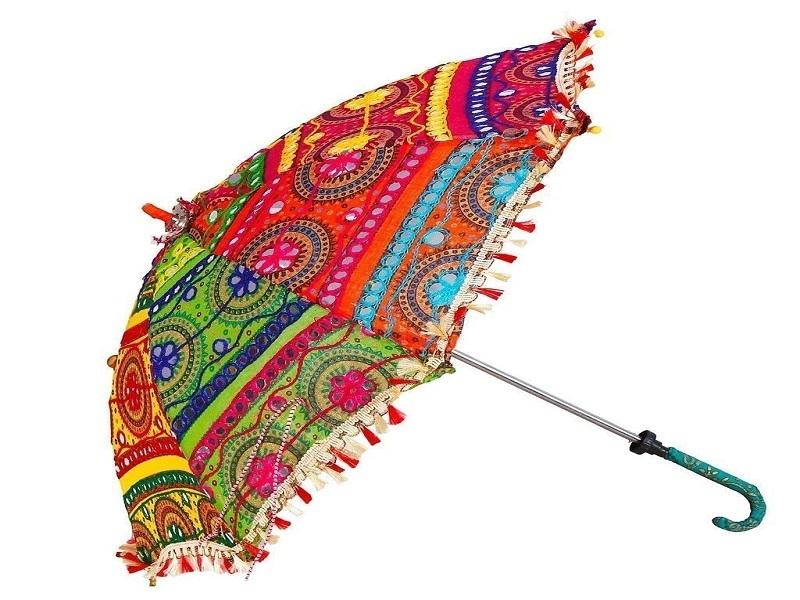 Saudeep India Trading Corporation Fabric Embroidered Rajasthani Umbrella
