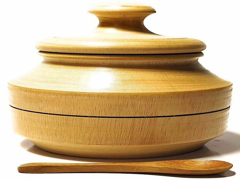 Naha Decor Eco-Friendly Hand Made Wooden Craft Tabletop Container Jar pot with Spoon