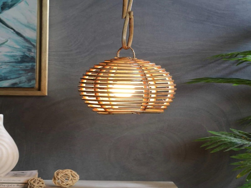 Zilver Eco-Friendly Round Handmade Cane Lamp Shade Handcrafted Decor