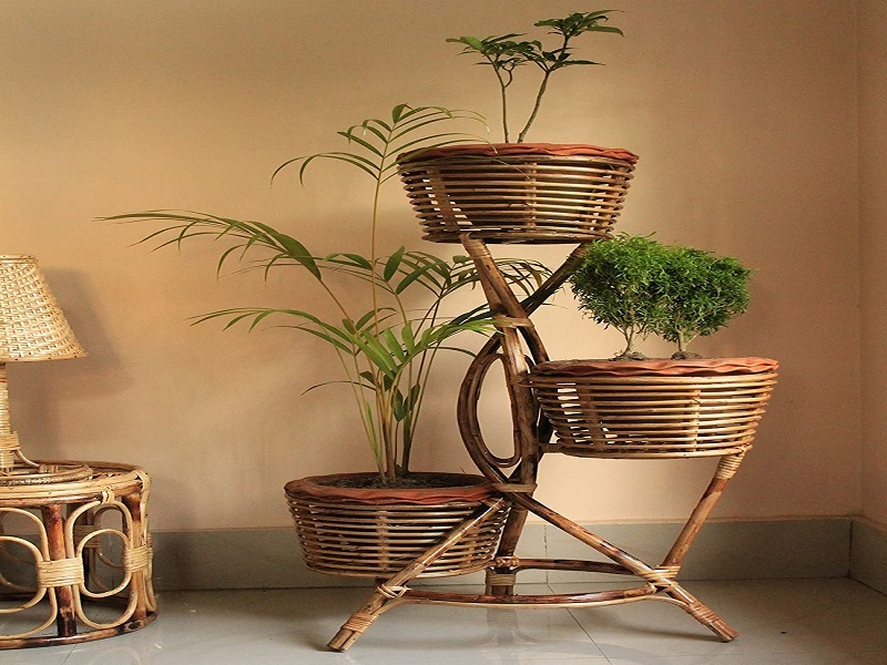 Zilver Eco-Friendly Handmade and Handcrafted Cane Flower Pot Stand