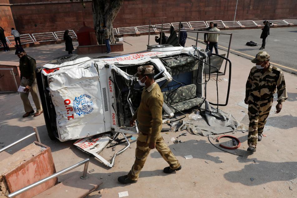 Reuters Red Fort Violence vehicle damaged 635