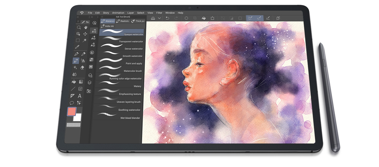 galaxy-tab-s7plus-fron-clip-studio-paint-ui-screen-pc
