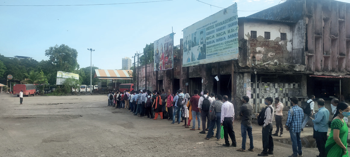 AAKHIR QUEUE? With limited seats in trains, cmmuters have to queue up for hours to catch a bus; many find the bus and cab fares too high