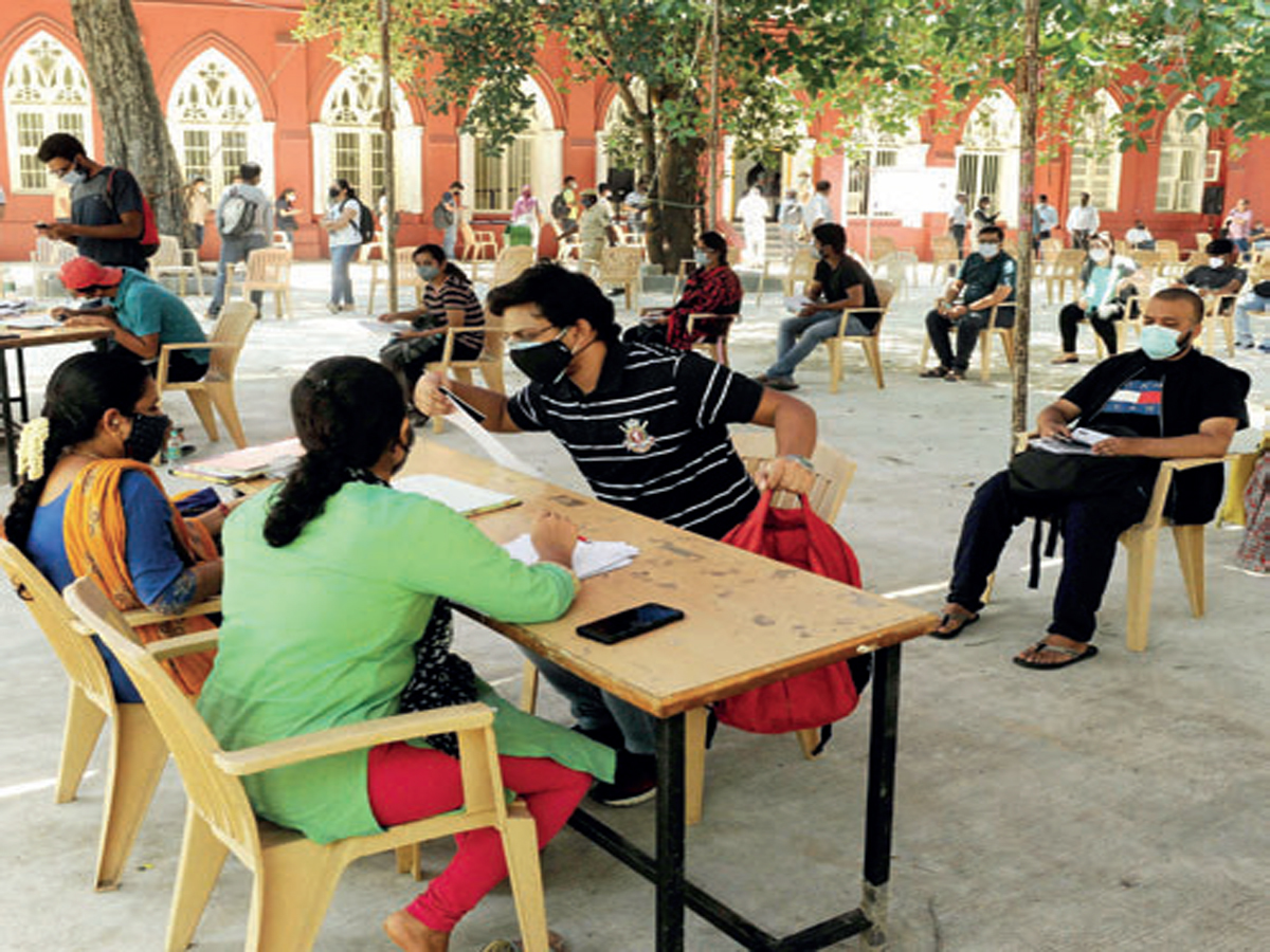 Citizens going abroad got vaccinated recently at a special drive held at Bengaluru Central College