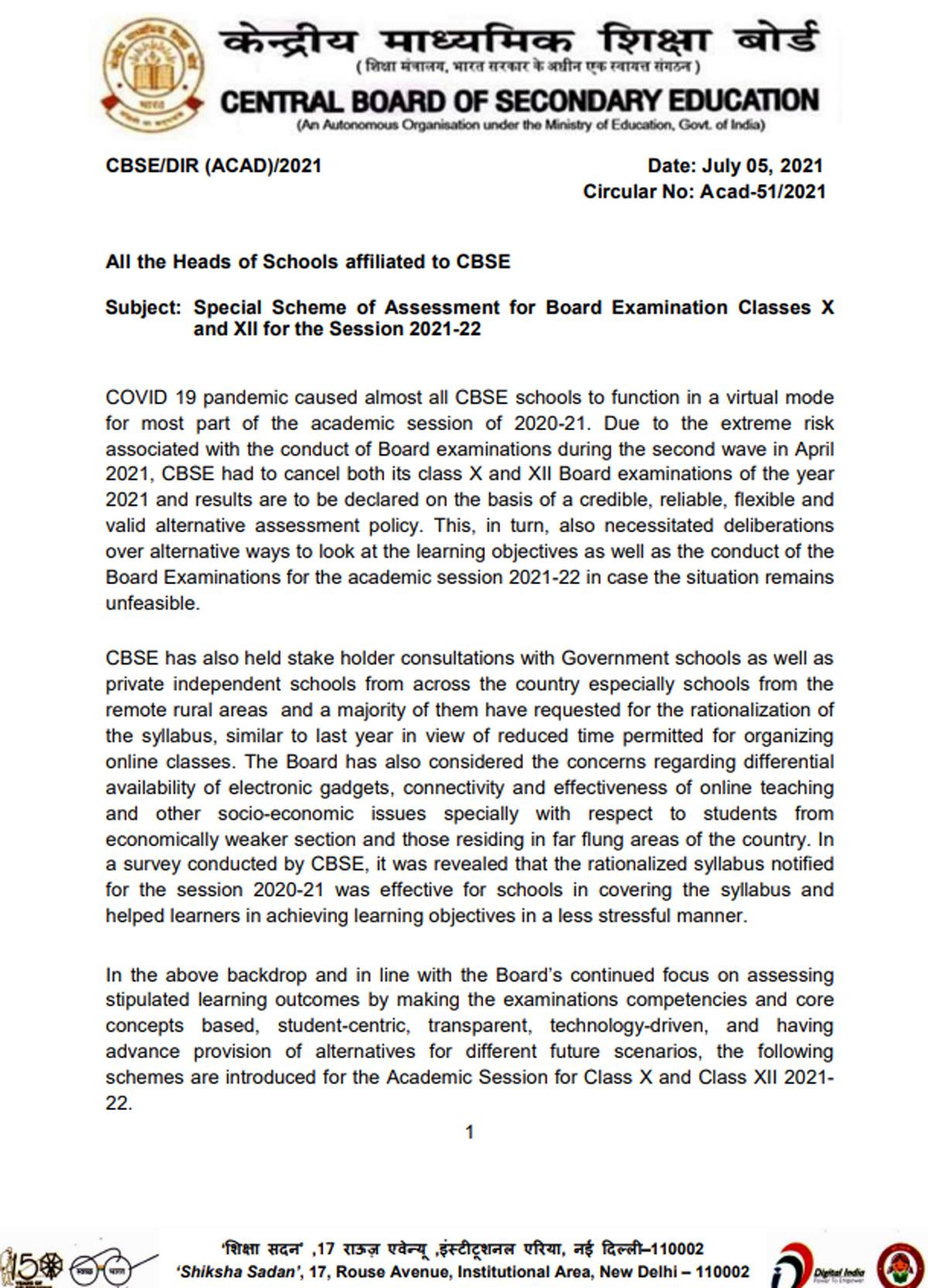 CBSE Assessment scheme