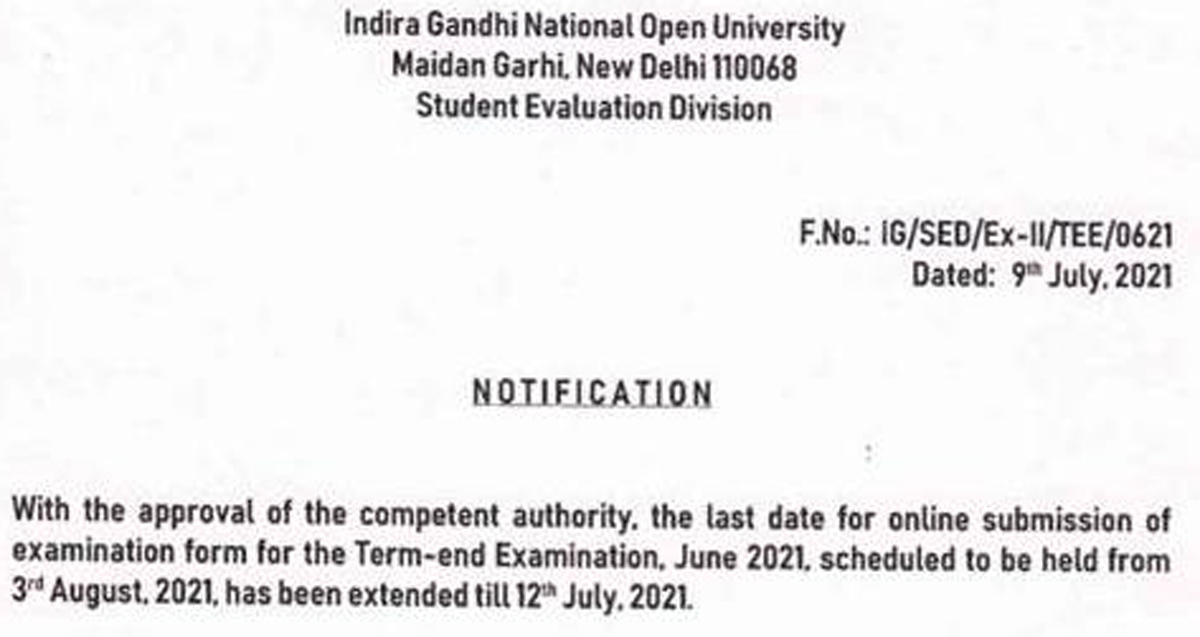 IGNOU June term-end exam 2021 last date extended
