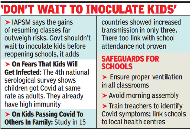 Health experts' body calls for reopening all schools
