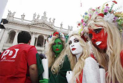 FEMEN protests against Berlusconi
