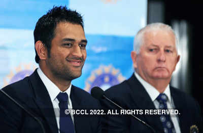 M S Dhoni addresses a press meet