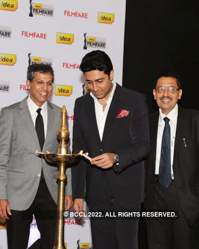 Abhi @ '57th Filmfare Awards' meet