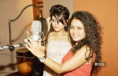 Sonu, Neha during song recording