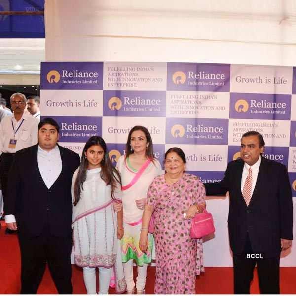 Nita Ambani with family at Reliance AGM