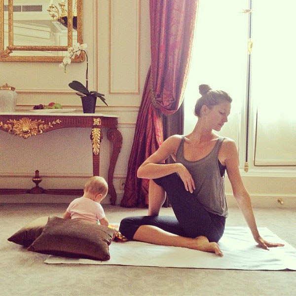 Gisele Bundchen and her baby girl, Vivian, practicing yoga together