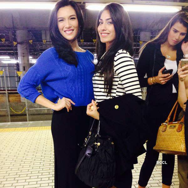 Jhataleka arrives at Tokyo airport for Miss International 2014