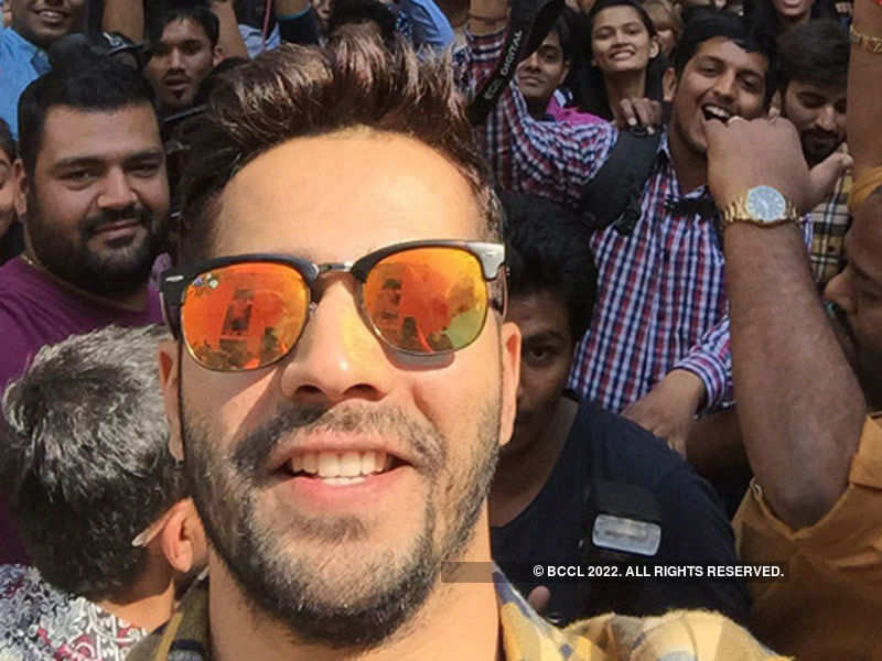 Varun Dhawan's selfie moment with students