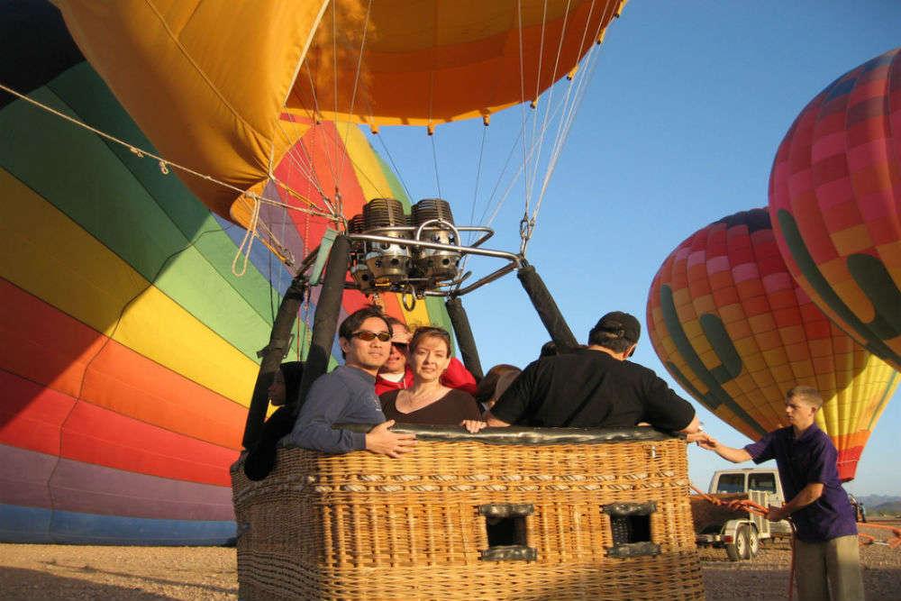 Hot-air ballooning over Sonoran Desert