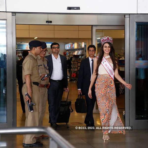 Miss India Aditi Arya's homecoming: In Pics