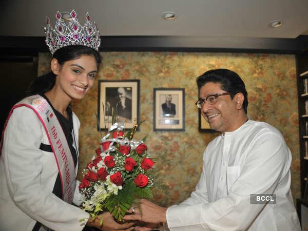 fbb Femina Miss India 2015 first runner up Aafreen Vaz meets MNS chief Raj Thackeray