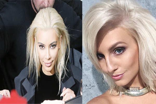 Did Miss World Australia Erin Holland copy Kim Kardashian's platinum blonde locks?